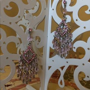 Jewelry - Pink rhinestone/crystal chandelier earrings