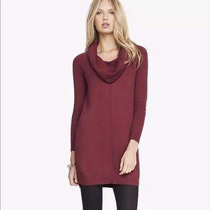Express cowl neck sweater dress burgundy berry