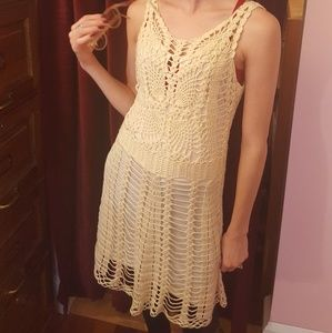 Free People crocheted dress white