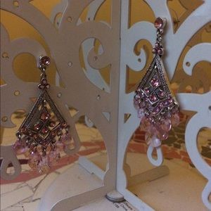 Jewelry - Silver and pink chandelier earrings