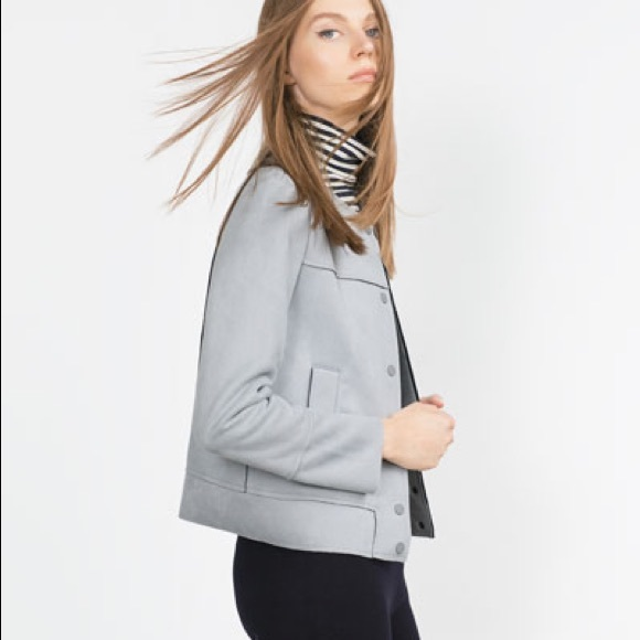 88e5a2664 ZARA PALE BLUE SUEDE-TEXTURED JACKET