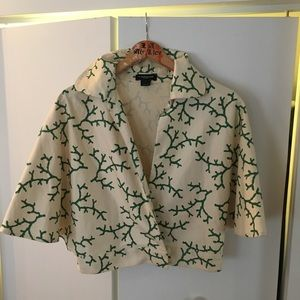 Kate Spade Cream/Emerald Capelet Cropped Jacket