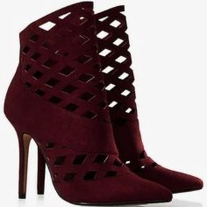 Express Lattice Cut Out Heeled Bootie