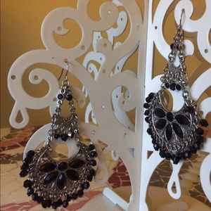 Jewelry - Black beaded silver chandelier earrings