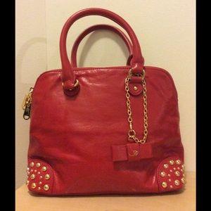 Belle Badgley Mischka red leather satchel handbag