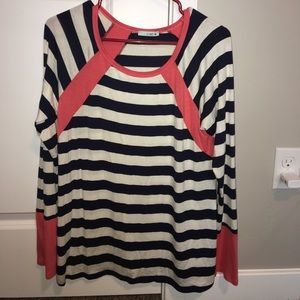 Tops - Navy Striped Shirt with Pink Accent Long Sleeve- L
