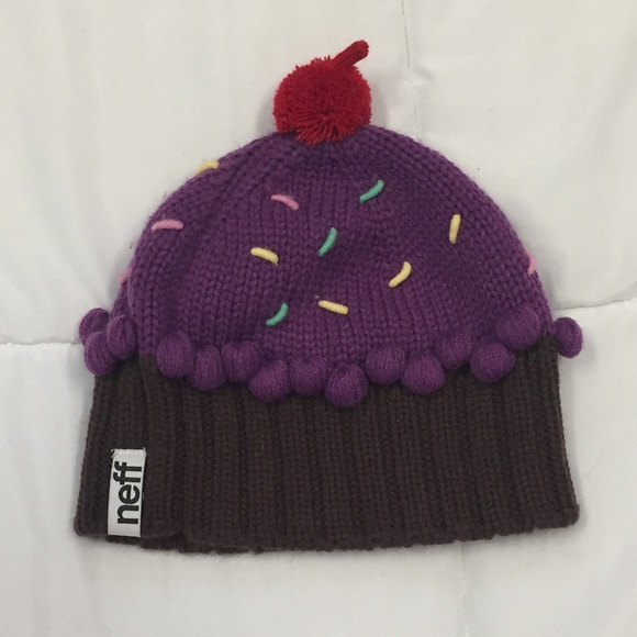 66232ec148f SALE🎉NEFF purple cupcake beanie with a 🍒 on top.  M 59f2476578b31c833d028830