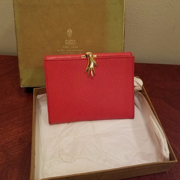 1dd96940e462 Gucci Bags | Vintage Red Leather Hand Clasp Wallet | Poshmark