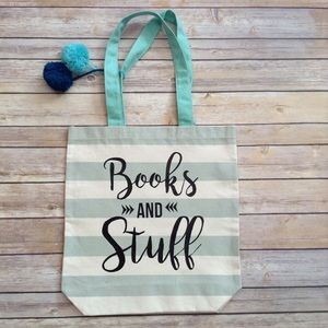 Handbags - Canvas 'Books and Stuff' Tote