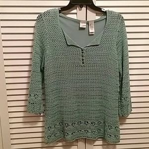 EMMA JAMES, CROCHETED TOP W/SHELL LINING