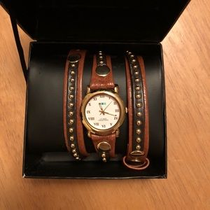 La Mer Black and Brown Studded Wraparound Watch