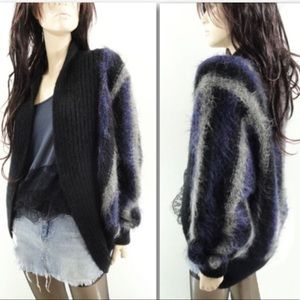 Vintage Mohair Batwing Coocoon Striped Cardigan