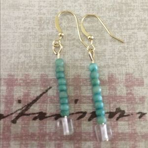 Jewelry - Sea green wood bead drop earrings