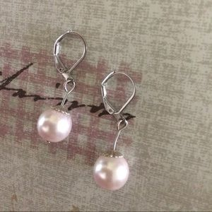 Jewelry - Pink faux pearl drop earrings