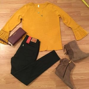 NY Collection Bell Sleeve Sweater Mustard Yellow
