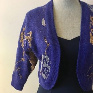Cobalt Blue Shrug with Gold and Silver Flowers