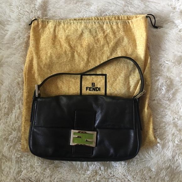 ... sweden fendi black leather baguette handbag 451de 9acdb ... d2e7c644367dc