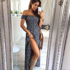 Boho Off Shoulder Maxi Side Slit Dress