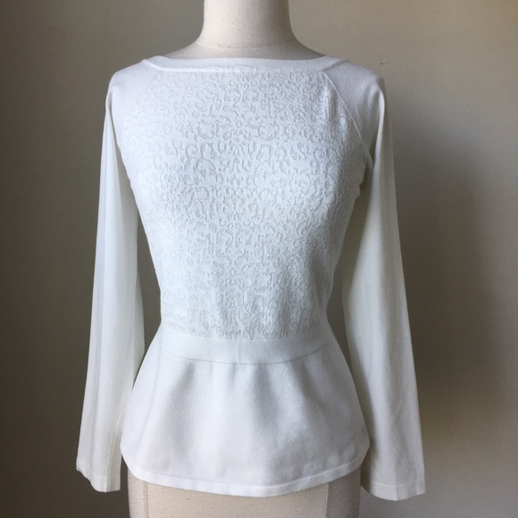 05e9458c7a Long sleeve lace peplum sweater pullover
