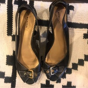 Merona open toe black buckle flats