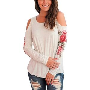Tops - 'Abby' Embroidered Cold Shoulder Top