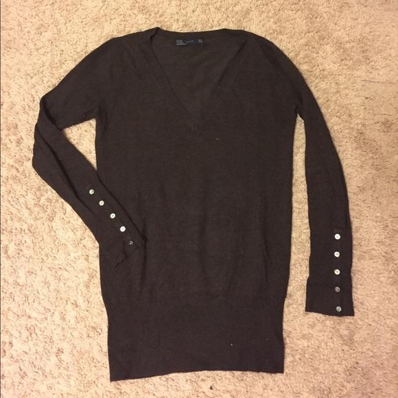 76% off Zara Sweaters - Zara chocolate brown v-neck sweater from ...