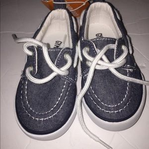 Nwt Boys Gymboree denim boat shoes size 5