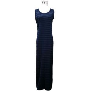 Carole Little Blue Striped Sleeveless Maxi Dress