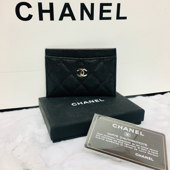 dee753773104 CHANEL Accessories | Caviar Card Holder Quilted Silver Logo Nib ...