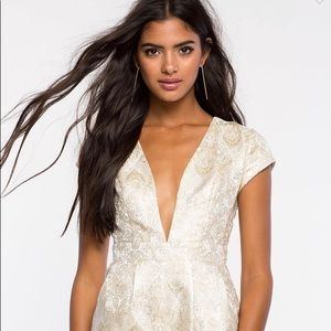 Gold and White Paisley Embroidered Romper