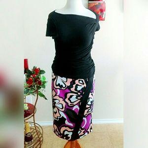 Skirts - Fuchsia Floral Envelope Skirt