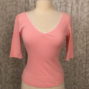Marabout salmon pink thin knit sequin top