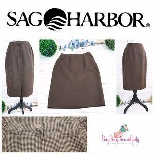 Vintage SAG Harbor Brown Gingham Midi Pencil Skirt