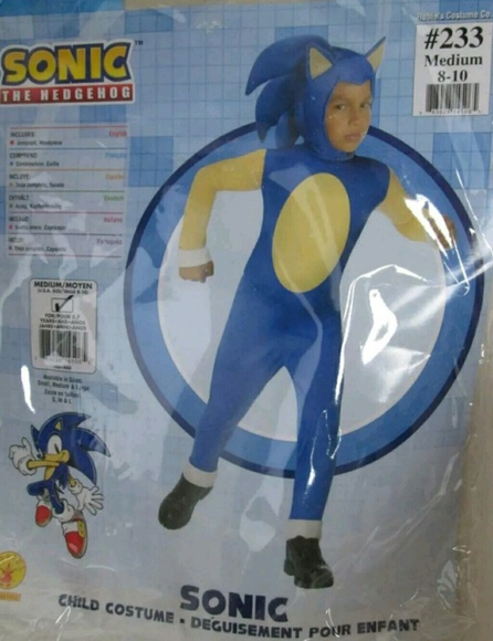 Sonic The Hedgehog Costume Kids Medium Size 8 & rubies Costumes | Sonic The Hedgehog Costume Kids Medium Size 8 ...