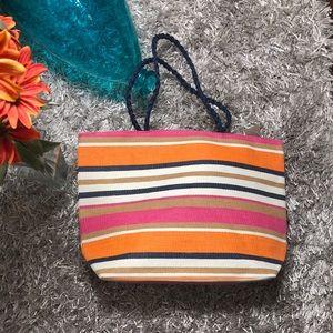 Handbags - 🆕 Striped Tote Bag - Orange, Blue, Beige