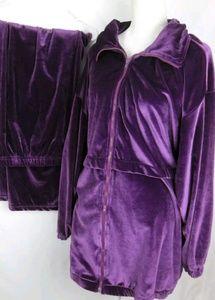 Roamans Purple Velour 2 Piece Jogging set 2X