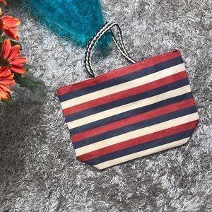 Handbags - 🆕Striped Tote Bag - Beige, Blue, Red
