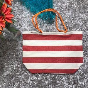 Handbags - 🆕Striped Tote Bag - Red, Linen White