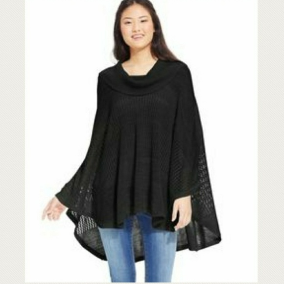 50% off Energie Sweaters - Energie Black Cowl Neck Sweater Poncho ...