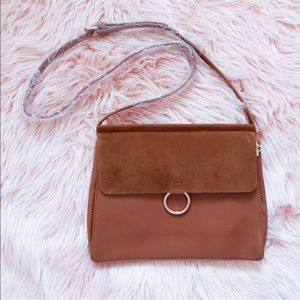 Faux Suede Chain Accent Flap Bag