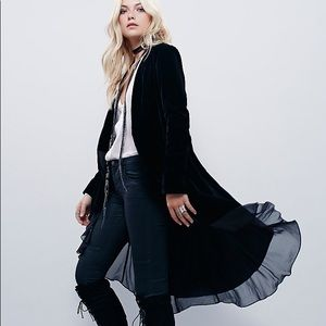 Swingy Velvet DUSTER Jacket Trench Coat Black