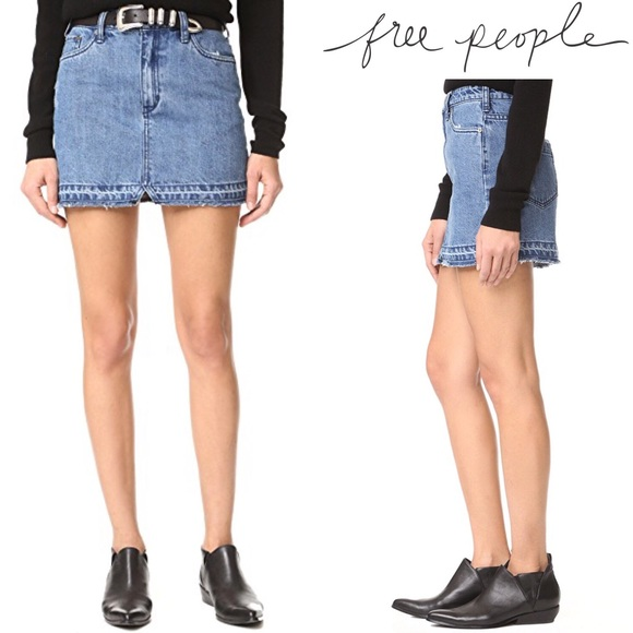 f247660c9ffd1 Free People Step Up Denim Mini Skirt Light Wash