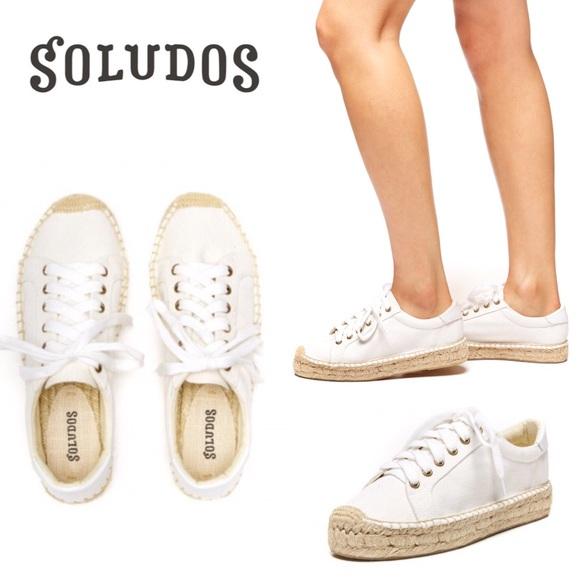Soludos Platform Tennis Sneaker In Canvas White tshrQd