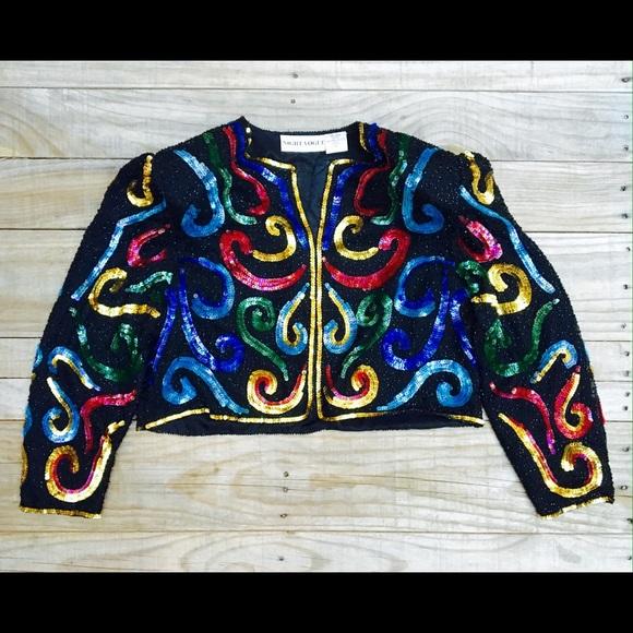 68e87e7e Vintage Jackets & Coats   Kaleidoscope Multi Color Bolero Jacket Top ...