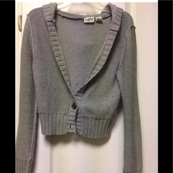 8e597d96a4 Daytrip Sweaters - Daytrip Hood Cardigan Sweater L Gray Cutout Seams