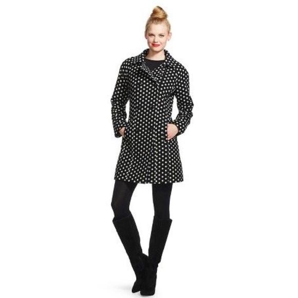 Xhilaration Jackets & Blazers - XHILARATION BLACK WHITE DOT PEA COAT TARGET- M