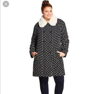 Xhilaration Jackets & Coats - XHILARATION BLACK WHITE DOT PEA COAT TARGET- M