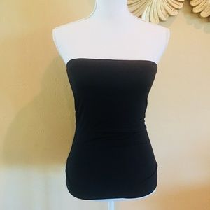 W By Worth Solid Black Bustier Strapless Top