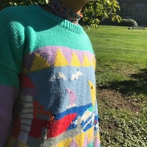 Vintage Sweaters - Vintage 80s 90s Colorful Sweater