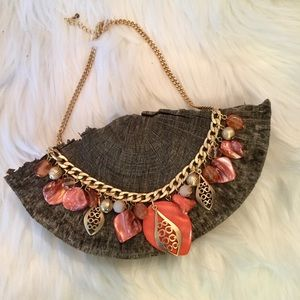Jewelry - Statement Gold and Coral Necklace, Like New